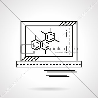 Molecule on monitor flat line vector icon