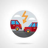 Round flat color car crash vector icon