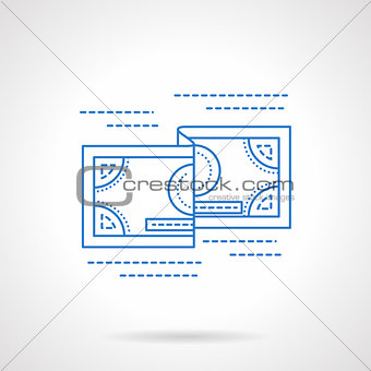 Flat blue line currency vector icon
