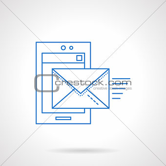 Flat blue line mobile mail vector icon