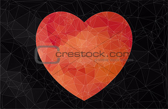 Abstract heart-shaped banner