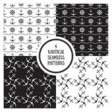 Seamless nautical patterns set