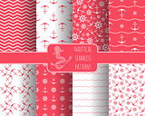 Seamless nautical pattern set