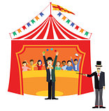 Circus with clown and ringmaster