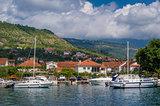 Small yacht marina vith sailing boats landscape