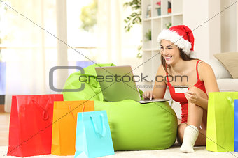 Casual girl buying online for christmas