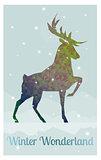 deer in snowy winter ambience