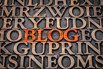 blog word abstract in wood type