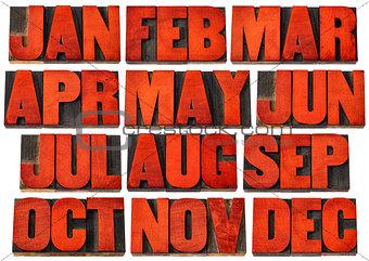 calendar icons - months in wood type