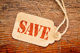 save sign on paper price tag