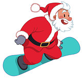 Santa Claus on the snowboard