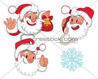 Three expressions of Santa Claus character