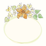 Vector watercolor round flower frame. Hand draw floral border