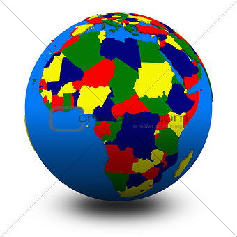 Africa on political globe illustration