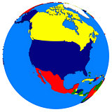 north America on Earth political map