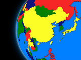 east Asia region on political Earth