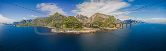 Aerial of Lofoten islands