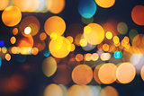 City lights and traffic headlight bokeh