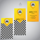 Two piece taxi business card with pointer