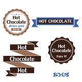 Hot chocolate labels, badges and design elements