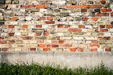 Red and yellow brick wall background