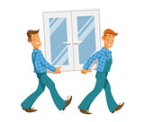 Two mans carry window