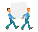Two mans carry empty plate