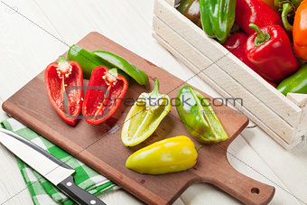 Fresh colorful bell peppers cooking