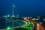 Night view of the Baku city