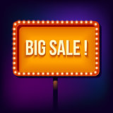 Night retro sign with lights, Big Sale Word