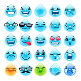 Cartoon Water Drops Emoticons