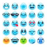 Cartoon Water Drops Emoticons