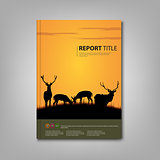 Brochures book or flyer with deer and lane in nature template