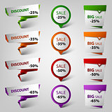 Colored discount sale design pointers template