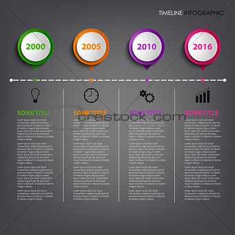 Time line info graphic with colored circular pointers template