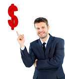 young businessman smiling and points