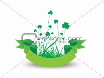 Green background with clovers and label  vector illustration