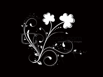 Abstract Clovers  Black Background Vector Illustration