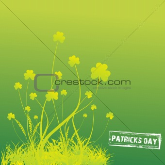 Green Clovers with green background Vector Illustration