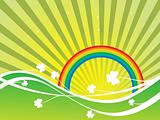Clovers with Rainbow and Colorful Background
