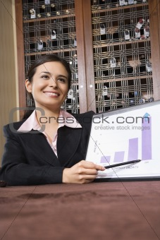 Businesswoman with bar graph.