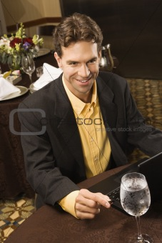 Businessman at table.