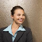Businesswoman smiling.