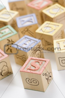 Alphabet toy blocks.