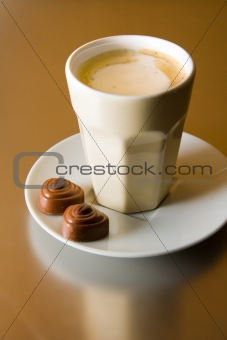 Cappuccino with chocolates