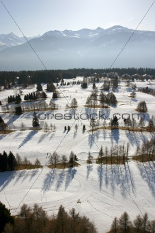 Aerial snow scene
