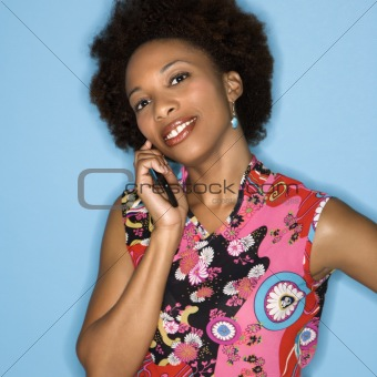 Retro woman on cellphone