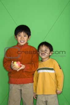 Boys with apple