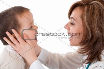 Child having physical exam at the doctor