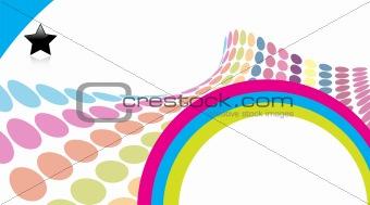 3D halftone colorful retro dots